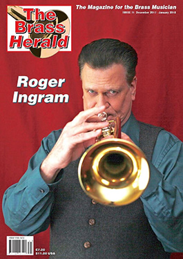 Roger with his Jupiter 1600i on the cover of the Brass Herald