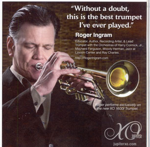 Roger with his Jupiter 1600i in DownBeat ad 31-2010